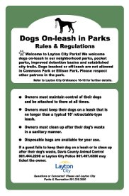 Dogs On-leash in Parks Rules & Regulations