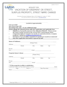 Street Name Change Application or Vacate of Easement