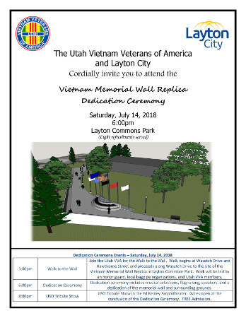 Public invite to the Vietnam Memorial Wall dedication