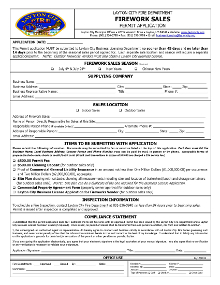 Firework Sales Permit Application
